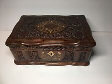 """Antique Ornate Carved Wood Box 11""""x7""""x5"""""""