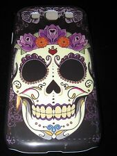 Sugar Skull Hard Cover Case for Samsung S3 III Dia de los Muertos Purple Flowers