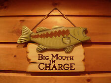 Rustic Big Mouth in Charge Wood Sign Fish Adirondack Lake Large Bass Trout