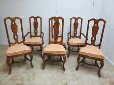 6 Drexel Heritage Old World Country French Carved Dining Room side arm Chair Set