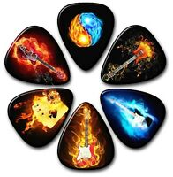 6 Flame Guitar Picks~ Plectrums ~ Plectra~ Printed Both Sides