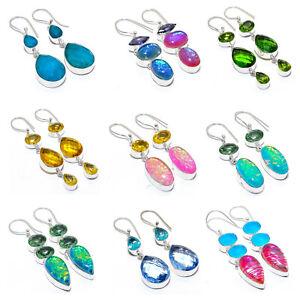 "Rutile Quartz, Amethyst 925 Sterling Silver Jewelry Earring 2.2""  GP-2471-2480"