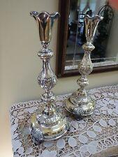 Antique Pair Warsaw Fraget N Plaque Silverplate Candlesticks~ 14 1/4 inch