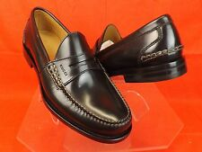 NIB GUCCI  BLACK POLISHED LEATHER SCRIPT LOGO DRESS PENNY LOAFERS 11 12 # 368442