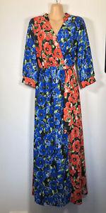 BOOHOO Red & Blue Poppy Floral Wrapover Style Retro maxi dress, 10