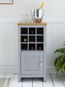 MILLBROOK Wine Cabinet Drink Bottle Storage Unit Glass Doors Grey Oak Metal Knob