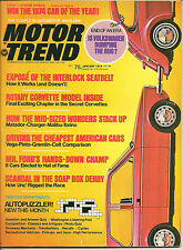 Motor Trend January 1974 VW Dumping Bug, Rotary Corvette,  Charger, Malibu