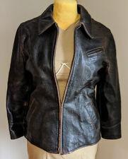 John Michael Distressed Leather Military Jacket Belt Topstitching Sz 40 USA