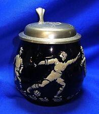 """Vintage German Tin Top Lidded Beer Stein Soccer """"Gut Tritt"""" #XX"""