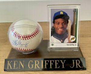 Ken Griffey Jr. Autographed Vintage OAL Baseball & 1989 Upper Deck Rookie (NM/M)