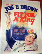 FIT FOR A KING ORIGINAL VINTAGE ONE-SHEET MOVIE POSTER 1937
