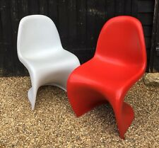 Pair Of Retro Style White & Red S Shape Dining Chairs
