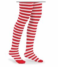 GIRLS Tights RED / WHITE STRIPED CHRISTMAS Halloween - CANDY CANE 6-8 Years
