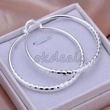 New Drop Beautiful Fashion 925 Sterling Silver Plated Women Circle Earrings Hoop