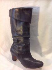 Ladies Dark Grey Mid Calf Leather Boots Size 5