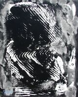 Modernist ABSTRACT PAINTING Expressionist MODERN ART B & W DEVELOPING FOLTZ