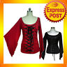 RK60 Rockabilly Gathered Lace Up Corset Style Top Work 40s 50s Retro Pin Up Plus