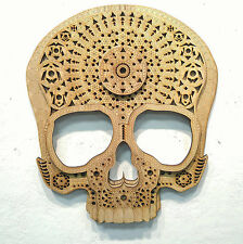 """Psychedelic Sacred Geometry Wood Sugar Skull Wall Hanging Decoration 11"""" * 13"""""""