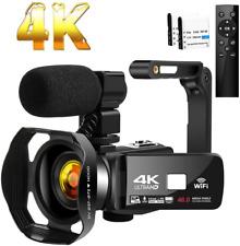 Camcorder 4K Ultra HD 48MP Video Camera for YouTube 30X Digital Zoom IR Black