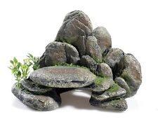 Aquarium Ornament Rocky Ledge with Plants Vivarium Basking Rock Decoration