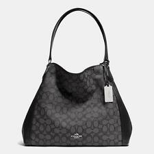 NWT Coach Edie Shoulder Bag in Signature Jacquard Leather Silver Black F33523
