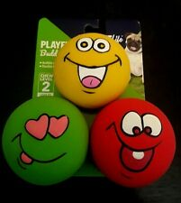 Vibrant Life Playful Buddy Emoticon Durable Rubber Latex Dog Chew Toy Set of 3