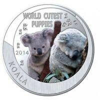 2014 NIUE ISLAND 1 DOLLAR KOALA SILVER PLATED PROOF WORLD CUTEST PUPPIES (DR)