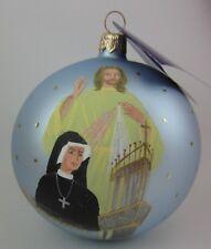 Vintage Calik JESUS SAINT FAUSTINA KOWALSKA DIVINE MERCY Glass POLISH Ornament