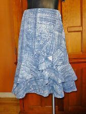 LRL Ralph Lauren Linen Cotton Denim Print Blue Ruffle dress SKIRT Sz 10