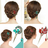 10 Styles Pearl Crystal Rhinestone Peacock Flower Hairpin Hair Clip Hair Stick