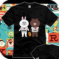Line Friends Cony Bunny Brown Bear Blcak Cotton T-Shirt Casual Summer Tee