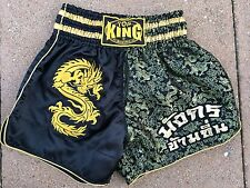 TOP KING MMA Mens Kickboxing / Muay Thai Boxing Shorts Black & Gold Dragon Sz XL