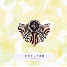 Epingle à Cheveux Pin Doré Art Deco Floral Elastique Pavé Noir Fin Retro FJ2