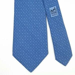 HERMES TIE 5332 TA Geometric in Blue Classic Silk Necktie