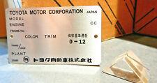 Imported Toyota LandCruiser Firewall Data ID Plate VIN FJ40 HJ47 BJ42 HJ60 TEq