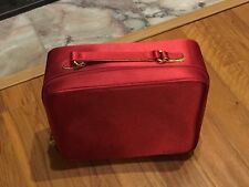 Estee Lauder Makeup Bag XL Large RED satin double zip gold handle Tote Box Used