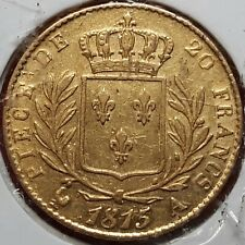 N°1) FRANCE MONNAIE OR 20 FRANCS LOUIS XVIII Buste Habillé 1815 A Paris -  TTB