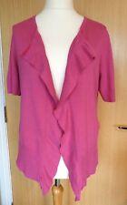 Jackpot Ladies Cardigan 14 16 Pink Short Sleeve Frill Open Smart Casual Work