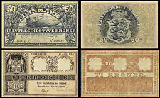 !COPY! DENMARK 50 KRONER 1942 + 10 KRONER 1909 BANKNOTES !NOT REAL!