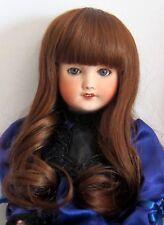 """perruque châtain Auburn Jumeau®22/23cm-poupée ancienne moderne-doll Wig sz9"""""""