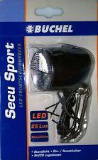 Büchel 51250820 LED Scheinwerfer 25Lux Secu Sport Schwarz für Nabendynamo