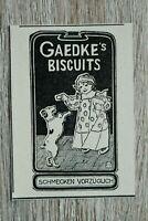 Werbung Anzeige 1900 Gaedke´s Biscuits Kekse Kind Hund Monogramm J G Holzschnitt