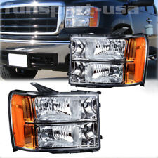 For 2007-2013 Gmc Sierra 1500 2500Hd 3500Hd Headlights Chrome Clear Replacement (Fits: Gmc)