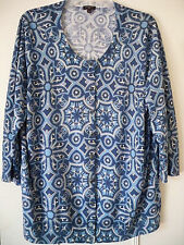 Talbots Woman Multi-Color Blues Charming Cardigan 2X Pre Owned 3/4 Sleeve