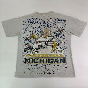 Michigan Wolverines shirt Vintage 90s Looney Tunes XL Collegeware aop two sided