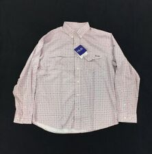 Huk Men's Tide Point Pink Plaid Button Down Long Sleeve Shirt Large Nwt62
