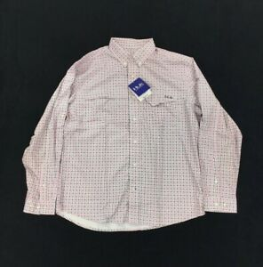 NEW Huk Fishing Tide Point Woven Plaid Long Sleeve Mens Button Shirt Pink White