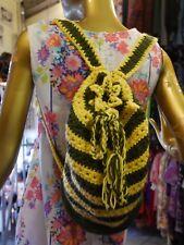 Häkel-Rucksack 70er Festival Hippie khaki-gelb TRUE VINTAGE 70s crochet backpack