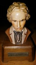 Vintage Wooden Minuet in G Music Box Beethoven Bust