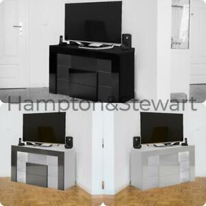 Modern White High Gloss & Matt Finish Corner TV Unit Stand RGB LED Lights